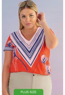Blusa Plus Size Estampada Laranja