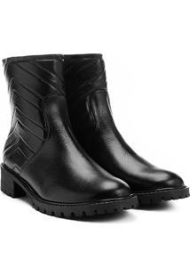 Bota Couro Biker Shoestock Matelassê Feminina - Feminino-Preto