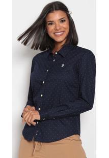 Camisa Poã¡ Bordada- Azul Marinho & Brancaus Polo