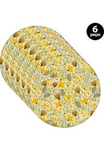 Sousplat Mdecore Floral 32X32Cm Amarelo 6Pçs