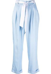 Max & Moi Calça Cropped Belinda Com Pregas - Azul