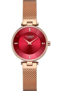Relógio Curren Analógico C9031L Rosê E Vermelho