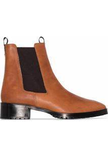 Aeyde Ankle Boot Karlo De Couro Com Salto 40Mm - Marrom