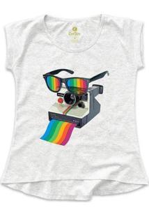 Camiseta Cool Tees Camera Pride Vision Feminina - Feminino-Mescla Claro