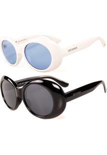 Kit De 2 Óculos De Sol Titânia Clássico Branco E Preto