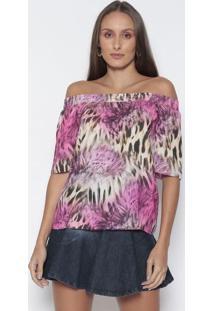 Blusa Ciganinha Animal Com Vazado - Pink & Bege - Lalanã§A Perfume