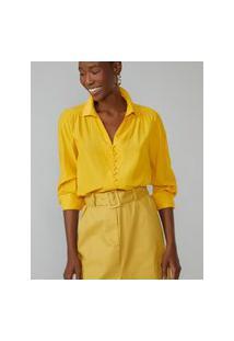 Amaro Feminino Camisa Com Botões Forrados, Amarelo Escuro