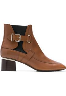 Tod'S Ankle Boot De Couro Com Fivela - Marrom