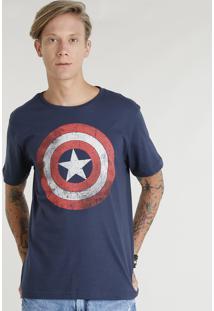 Camiseta Masculina Tal Pai Tal Filho Capitão América Manga Curta Gola Careca Azul Marinho