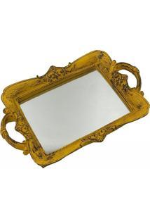 Bandeja Espelhada Pequena Decorativa Amarela 4X30X20Cm
