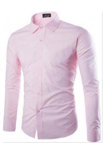 Camisa Social Masculina Slim Manga Longa - Rosa