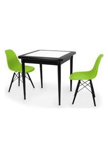 Conjunto Mesa De Jantar Em Madeira Preto Prime Com Azulejo + 2 Cadeiras Eames Eiffel - Verde