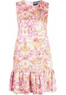 Versace Jeans Couture Vestido Com Estampa Barroca E Peplum - Rosa