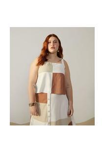 Blusa Regata Em Linho Com Bloco De Cores Curve & Plus Size Branco