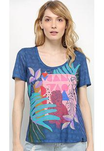 Camiseta Cantão Pop Art Feminina - Feminino-Marinho