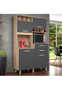 Cozinha Compacta Júnior 4 Pt 2 Gv Cedro E Grafite