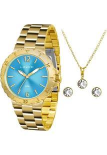 Kit Relógio Lince Feminino Lrgh036L Kt95A2Kx Com S - Unissex-Dourado