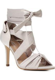 Sandália Shoestock Bride Tiras Cetim Salto Alto Feminina - Feminino-Off White