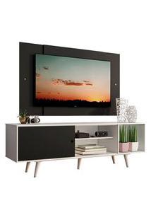 Rack Madesa Dubai Com Pés E Painel Para Tv Até 58 Polegadas Branco/Preto 7377 Preto