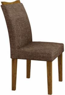Conjunto Sala De Jantar Mesa Tampo Mdf/Vidro Branco 6 Cadeiras Pampulha Leifer Canela/Linho Marrom