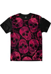 Camiseta Bsc Skull Pink Print Sublimada Preto