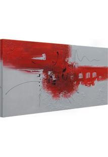 Quadro Artesanal Abstrato Vermelho 60X130 Cm