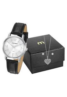 Kit De Relógio Analógico Mondaine Feminino+ Branco+ Colar -83475L0Mvnh1K2 Prateado