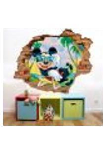 Adesivo De Parede Buraco Falso 3D Mickey Praia - Eg 100X122Cm