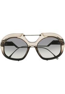 Fendi Eyewear Óculos De Sol Oversized Ff - Preto
