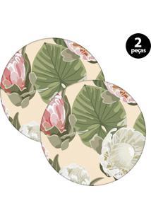 Capa Para Sousplat Mdecore Floral Bege 2Pçs