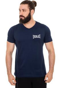 Camiseta Everlast Decote V Logo Peito Azul Marinho