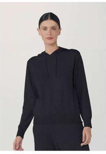 Blusão Feminino Com Capuz Em Tricot Com Algodão Pr
