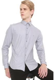 Camisa Calvin Klein Reta Estampada Cinza