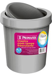 Lixeira Redonda Com Tampa Basculante 4,3 Litros Cinza