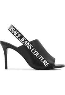 Versace Jeans Couture Sandália Com Abertura Frontal E Fechamento No Tornozelo - Preto