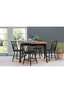 Mesa Com 4 Cadeiras De Jantar Mimo 110Cm Verniz Jatobá E Laca Preto