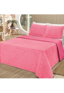 Kit Cobertor Soft Queen Poliéster Percal 3 Peças Bia Enxovais Rosa Pink