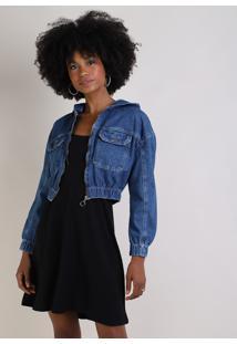 Jaqueta Jeans Feminina Cropped Com Capuz Azul Escuro