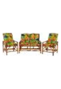 Sofá 2 Lugares 2 Cadeiras De Bambu Cancun Para Area Edicula Jardim G19