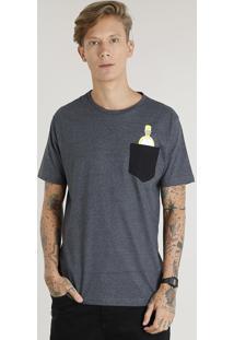 Camiseta Masculina Homer Simpson Com Bolso Manga Curta Gola Careca Cinza Mescla Escuro
