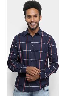 Camisa Xadrez Manga Longa Ellus Web Mool Touch Check 50 Masculina - Masculino-Azul Escuro