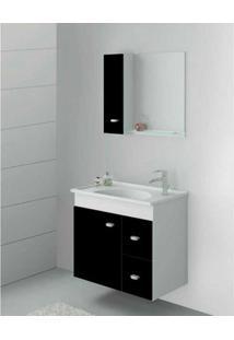 Gabinete Suspenso Smart 600 Com Espelheira E Cuba Branco E Preto Gaam