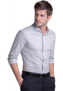 Camisa Buckman Fio Tinto Micro Xadrez Cinza