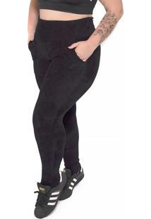 Calça Legging Peluciada Plus Size Preto