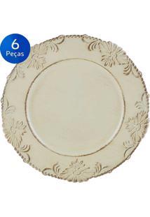 Jogo De 6 Sousplat Flowers 33Cm - Bon Gourmet - Bege