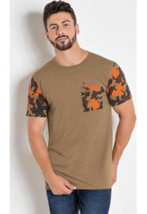 Camiseta Marrom Com Estampa Camuflada