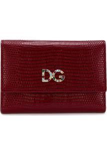 Dolce & Gabbana Carteira De Couro Com Logo De Cristal - Vermelho