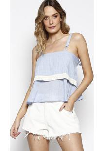 Blusa Ampla Com Renda - Azul Claro & Off White- Sommsommer