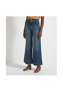 Calça Wid Leg Cintura Alta Em Jeans Com Barra Desfiada