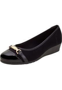 Sapato Feminino Anabela Moleca - 5156752 Preto/Camurça 34